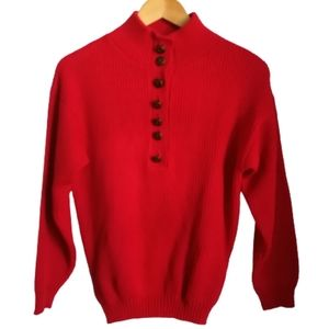 VINTAGE Y2K Fire Red Knitted Half-Button Sweater